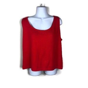 St. John True Red Knitted Tank Top